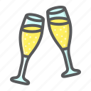 champagne, glasses, holiday, love, romantic, two, valentine icon