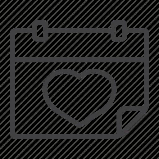 calendar, date, heart, holiday, love, romantic, valentine icon
