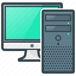 computer, device, hardware, monitor, pc, system unit icon