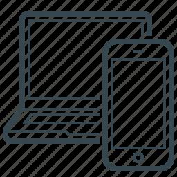 communication, device, hardware, laptop, mobile, responsive design icon