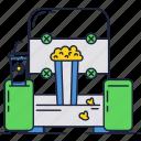 chair, cinema, drink, entertaiment, movie, popcorn, soda icon