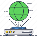 3d, future, globe, hologram, projector, technology icon