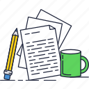 contract, cup, documents, files, pencil icon
