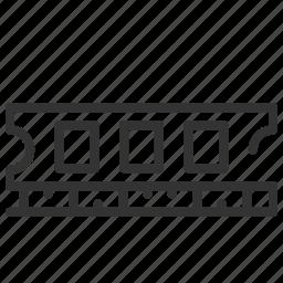 hardware, hardware line, internal, memory, pc, ram, ram line icon