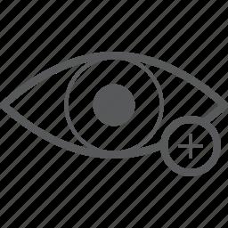 add, create, eye, eyes, new, plus, view icon