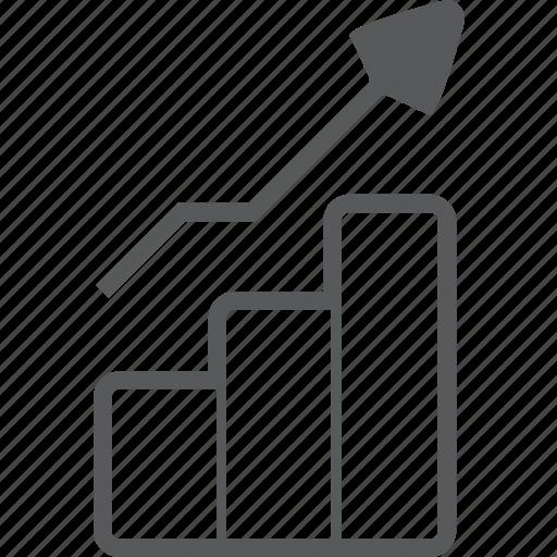 chart, column, diagram, graph, grown, statistics, up icon