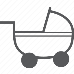 baby, baby carriage, baby cart, buggy, push, stroller icon