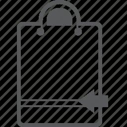 arrow, back, bag, buy, left, shopping icon