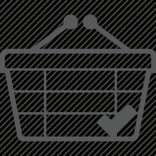 basket, buy, checked, checkout, oke, shop, success icon