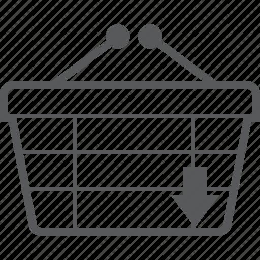 arrow, basket, buy, checkout, down, download, shop icon