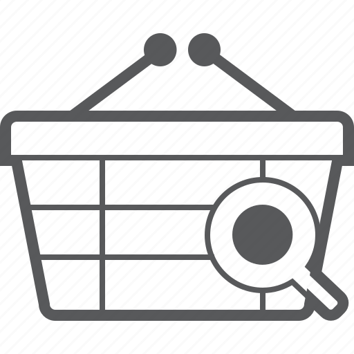 basket, buy, checkout, find, magnifying, search, shop icon