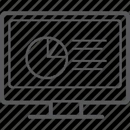 analytics, chart, circle, desktop, diagram, graph, statistics icon