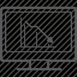 chart, decrease, desktop, diagram, graph, line, screen icon