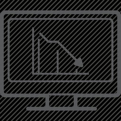 Chart, decrease, desktop, line, diagram, graph, screen icon - Download on Iconfinder