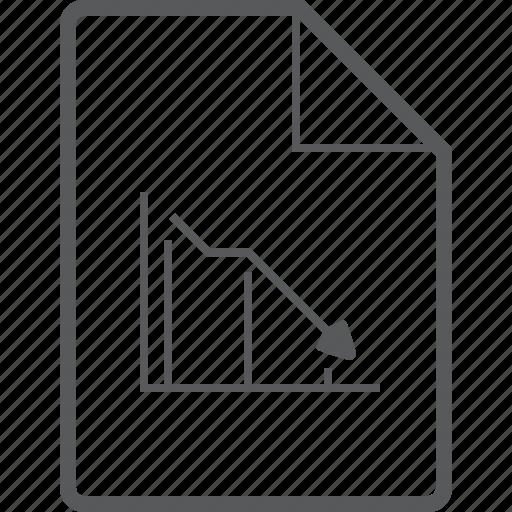 chart, decrease, document, down, graph, line, statistics icon