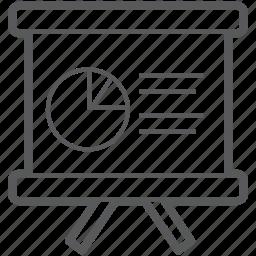 chart, circle, diagram, easel, show, slide, slideshow icon