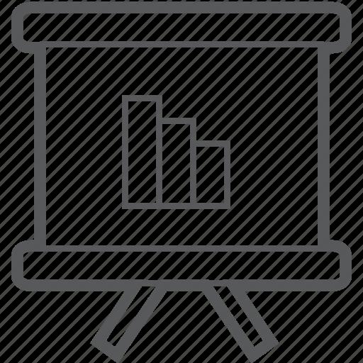 chart, charts, column, decrease, diagram, easel, slideshow icon