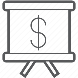 currency, dollar, easel, money, show, slide, slideshow icon