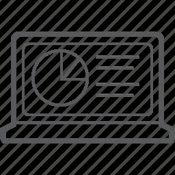 analytics, chart, circle, diagram, graph, laptop, statistics icon
