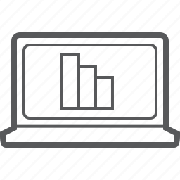 chart, column, decrease, diagram, down, graph, laptop icon