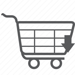 arrow, cart, direction, down, navigation, shopping, trolley icon