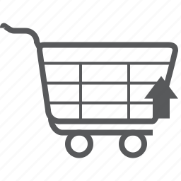 arrow, cart, direction, navigation, shopping, trolley, up icon