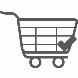 buy, cart, checked, shop, shopping, success, trolley icon