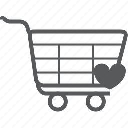 cart, favorite, favourite, heart, love, trolley icon