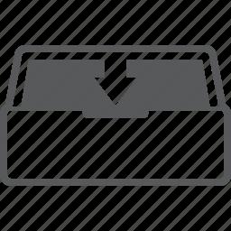 arrow, box, data, database, down, download, storage icon
