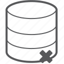 database, delete, trash, storage, hosting, remove, server icon