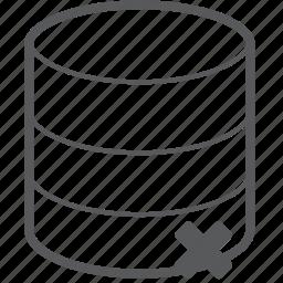 database, delete, hosting, remove, server, storage, trash icon