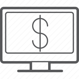 cash, currency, desktop, dollar, money, payment, screen icon