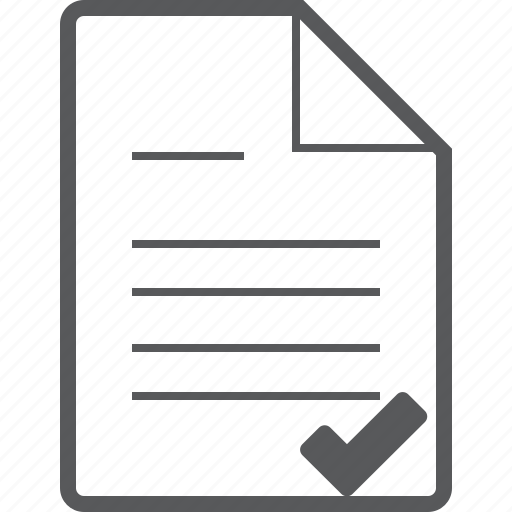 checked, database, document, file, paper, sheet, success icon