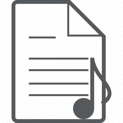 document, eighth, line, musical, note, page, paper icon