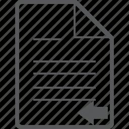 arrow, back, document, left, line, paper, previous icon