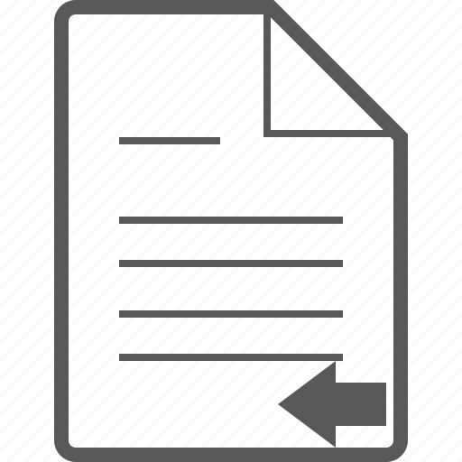 arrow, back, document, left, line, paper, previous icon