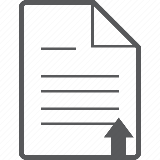 arrow, document, line, paper, sheet, up, upload icon
