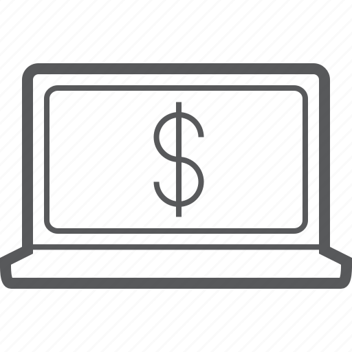 business, currency, currrency, dollar, finance, laptop, money icon