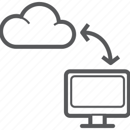 cloud, communication, computer, network, screen, share, sync icon