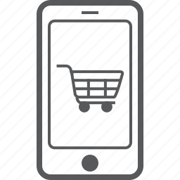 cellphone, device, payment, phone, shopping, smart, trolley icon
