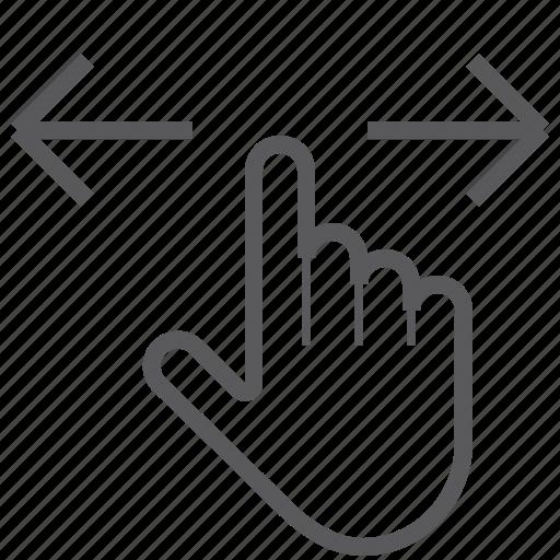 finger, gestureworks, horizontal, one, swipe icon