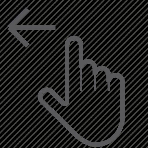finger, gestureworks, left, one, swipe icon
