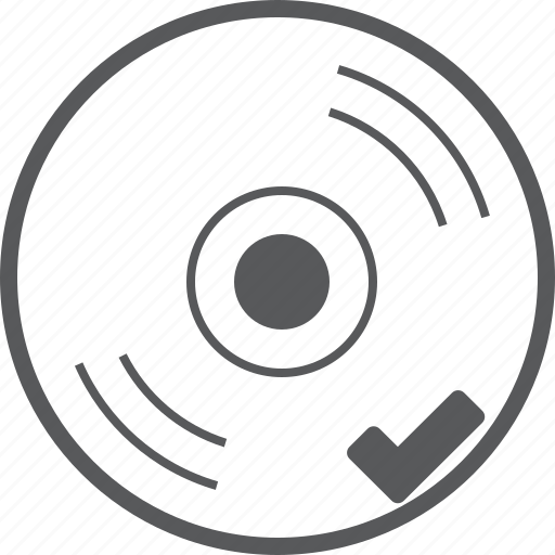 cd, check, checked, disc, media, music, success icon