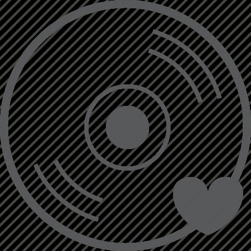 cd, disc, favorite, heart, love, media, player icon