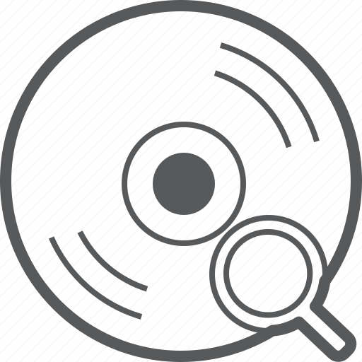 cd, disc, find, magnifier, media, music, search icon