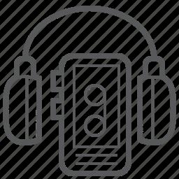 cassette, headphone, headset, multimedia, music, player, retro icon