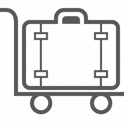 baggage, cart, handcart, luggage, luggage trolley, suitcase, trolley icon
