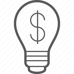 bulb, dollar, financial, light, lightbulb, money, tube icon