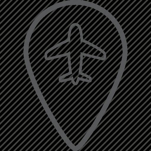airplane, direction, location, location pin, navigation, pin, plane icon