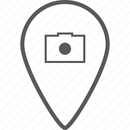 camera, direction, location, location pin, navigation, photo, pin icon